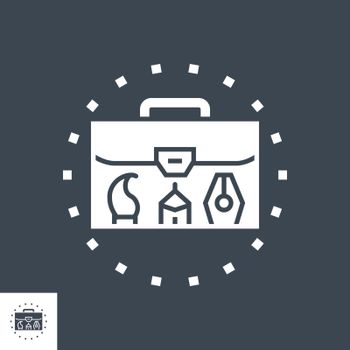Portfolio Demonstration Related Vector Glyph Icon. Isolated on Black Background. Vector Illustration.