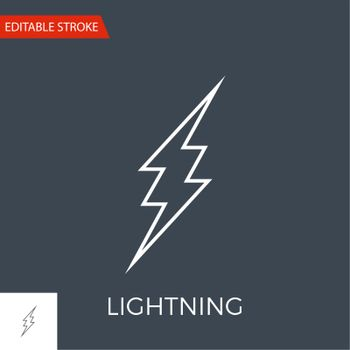 Lightning Vector Icon. Thin Line Vector Illustration. Adjust stroke weight - Expand to any Size - Easy Change Colour - Editable Stroke