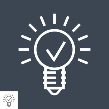Bulb Thin Line Vector Icon Isolated on the Black Background.