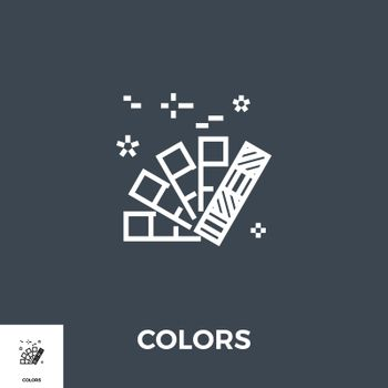 Colors Related Vector Thin Line Icon. Isolated on Black Background. Vector Illustration.