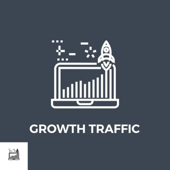 Growth Traffic Related Vector Thin Line Icon. Isolated on Black Background. Vector Illustration.