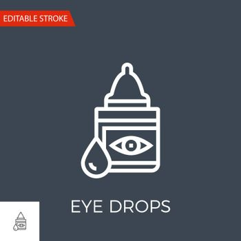 Eye Drops Thin Line Vector Icon. Flat Icon Isolated on the Black Background. Editable Stroke EPS file. Vector illustration.
