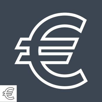 Euro Sign Thin Line Vector Icon. Flat icon isolated on the black background. Editable EPS file. Vector illustration.