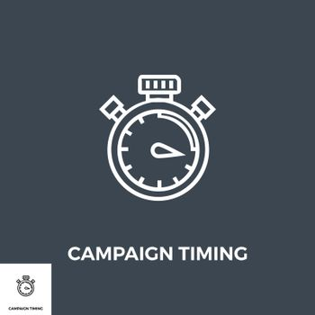 Campaign Timing Related Vector Thin Line Icon. Isolated on Black Background. Vector Illustration.