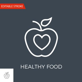 Healthy Food Thin Line Vector Icon. Flat Icon Isolated on the Black Background. Editable Stroke EPS file. Vector illustration.
