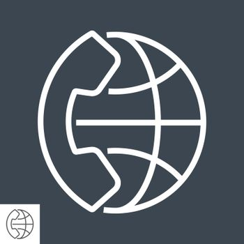 International Call Thin Line Vector Icon. Flat icon isolated on the black background. Editable EPS file. Vector illustration.