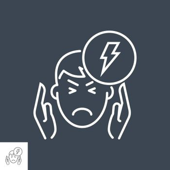 Headache related vector thin line icon. The head of a man with a headache in his hands at the temples. Isolated on black background. Editable stroke. Vector illustration.