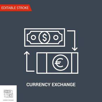 Currency exchange Icon. Thin Line Vector Illustration - Adjust stroke weight - Expand to any Size - Easy Change Colour - Editable Stroke - Pixel Perfect
