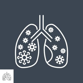Lungs Infection related vector thin line icon. Lungs with infection inside. Isolated on black background. Editable stroke. Vector illustration.