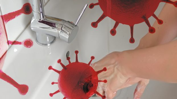 Cleaning and washing hands with soap prevention for outbreak of