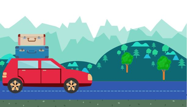 Car with luggage on roof against the background of countryside. hills and trees horizontal banner. Cartoon moving car Vector illustration in cartoon style.