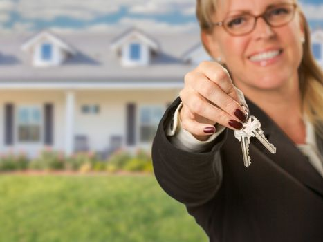 Real Estate Agent Handing Over New House Keys with House Behind.