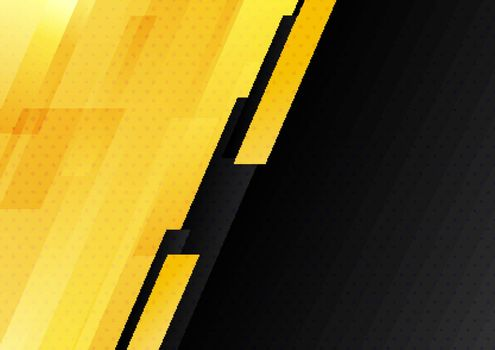Abstract modern yellow and black stripes geometric diagonal with dots pattern background technology style. Vector illustration