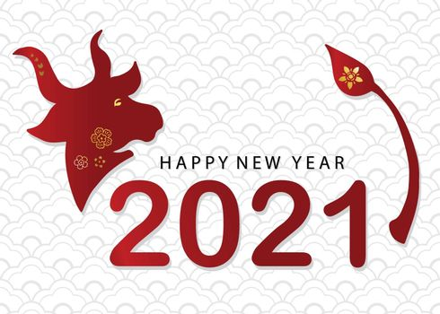 Happy Chinese new year 2021 greeting with flower,ox in paper cut art and craft style