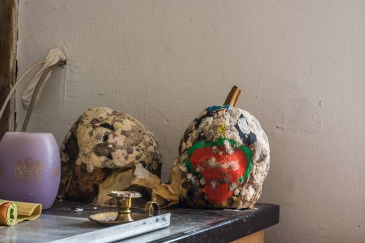 painted pumpkins with mold on a table in a house