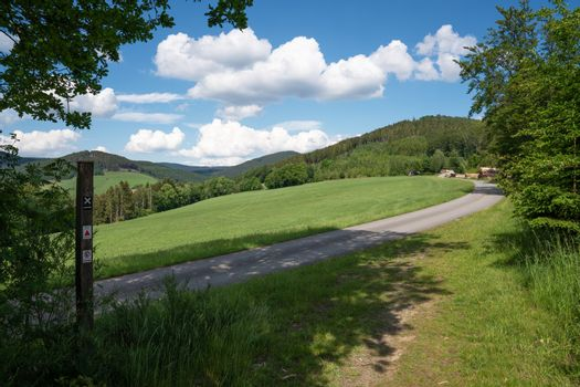 Landscape of Sauerland region close to Winterberg with a hiking