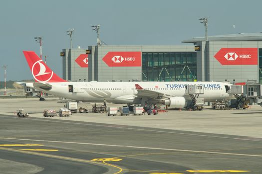 Turkish Airlines plane docked to the gate at new Istanbul airport Istanbul Havalimani in Turkey