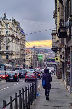 Belgrade / Serbia - December 21, 2019: Kneza Milosa Street in downtown Belgrade, one of the major streets in Belgrade, capital of Serbia