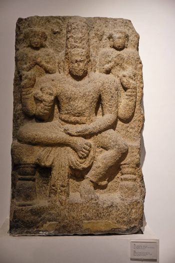 New Delhi / India - September 26, 2019: Stone relief of Hindu god Shiva in the National Museum of India in New Delhi
