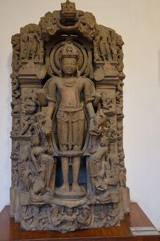 New Delhi / India - September 26, 2019: Stone relief of Hindu god Vishnu in the National Museum of India in New Delhi