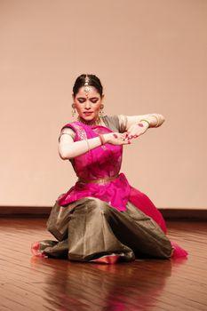 Delhi / India - October 2019: Classical Indian Kathak dance performance in New Delhi, India