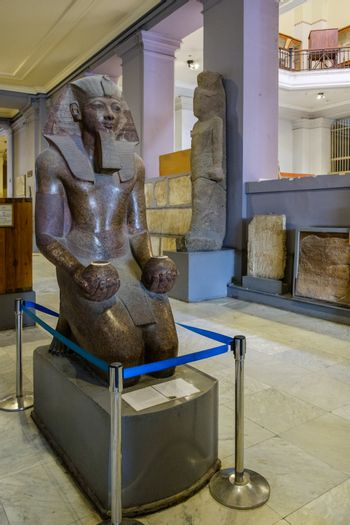 Cairo / Egypt - May 25, 2019: Interior of the Museum of Egyptian Antiquities (Egyptian Museum) which houses the world's largest collection of ancient Egyptian antiquities in Cairo, capital of Egypt