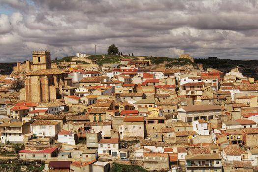 Panoramic of the village of Jorquera on the mountain and the river Cabriel surrounding it. Jorquera, Castilla la Mancha, Spain.