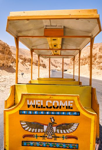 Tuf-tuf (little electrical train car) which ferries tourists to the pharaoh tombs in the Valley of the Kings in Luxor, Egypt