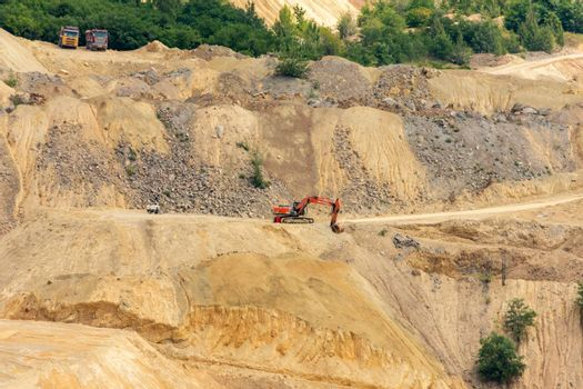Bor / Serbia - July 13, 2019: Veliki Krivelj mine of Zijin Bor Copper, one of the largest copper reserves in the world, owned by the Chinese mining company Zijin Mining Group
