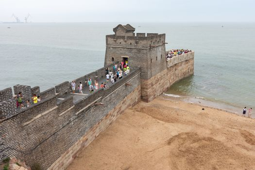 Qinhuangdao / China - July 23, 2016: Laolongtou Great Wall (Old Dragon's Head) where the Great Wall of China meets the Bohai Sea