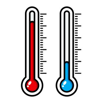 Thermometer cartoon illustration isolated on white. Meteorology