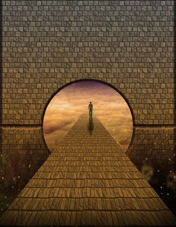 Surreal painting. Figure of man walking on stone road to another world. 3D rendering