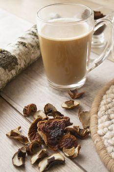 Mushroom coffee superfood trend. Caffeine latte, cappuccino drink.