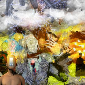 Surreal painting. Man without face with mask in his hand. Man torso with opened door instead of his face. Hands of creator in the sky. 3D rendering