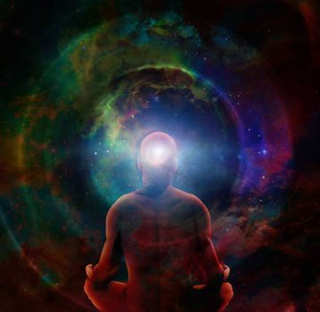 Man in lotus position sits before endless spaces. 3D rendering
