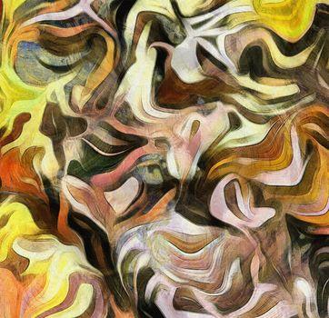 Fluid lines of color movement. 3D rendering