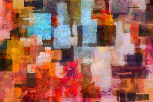 Colorful abstract painting in artistic style. 3D rendering