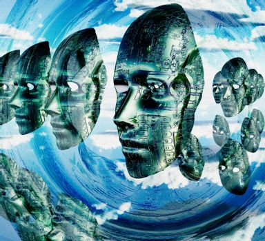 Electronic Faces hovers. 3D rendering