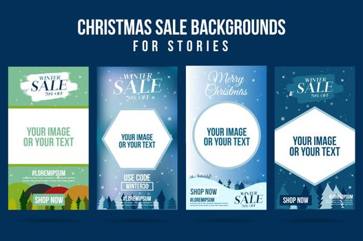 Set of christmas winter design sale story for background and present product template for social networks story.Cover social media background. Can be use for, website, mobile app.