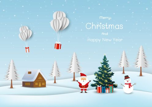 Merry Christmas and happy new year greeting card,cute Santa claus with snowman happy on snow village background,vector illustration