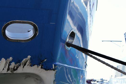 Blue boat on the dock of Santa Pola, Spain