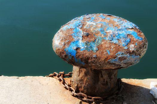 Mooring post at the dock in Santa Pola, Alicante