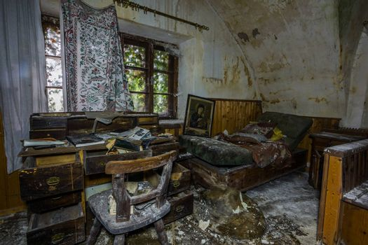 nice old wooden furniture with mold in a house