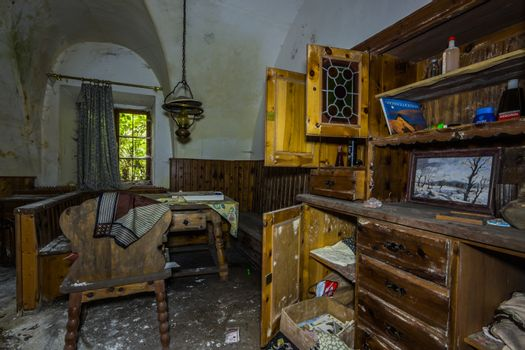 old wooden furniture in a room with vaults in a house