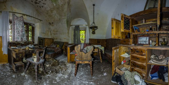 room with vault and wooden furniture with mold panorama view