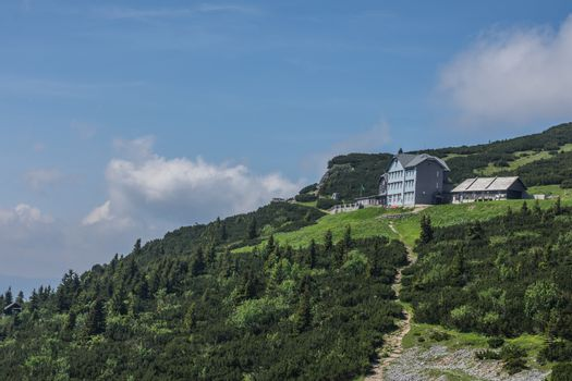 houses and hiking trails in the mountains while hiking