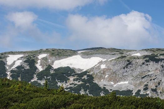 snow with rocks in the mountains and summer while hiking