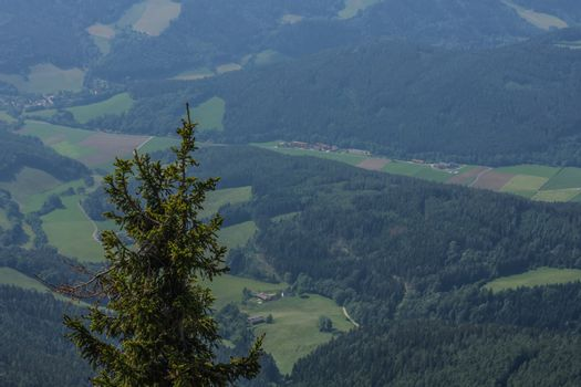 Wide view from a mountain on the landscape while hiking