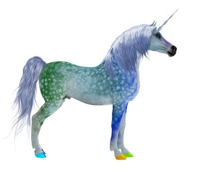 This colorful fantasy unicorn is a legendary creature of mythology with a pointed forehead spiral horn.