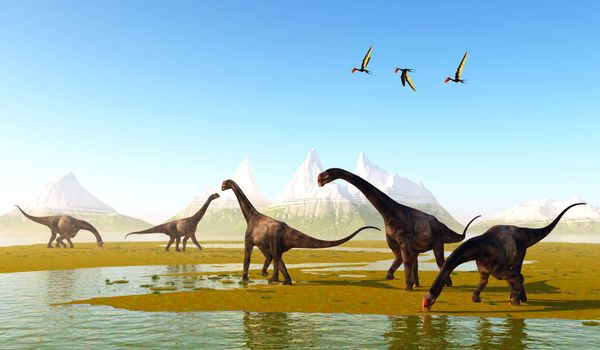 Dsungaripterus Pterosaurs fly over a herd of herbivorous Brontomerus dinosaurs eating low growing vegetation.